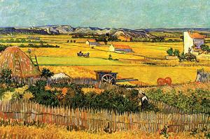 Harvest at La Crau with Montmajour in the Background by Vincent van Gogh