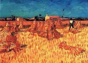 Harvest in Provence of Wheat Field with Sheaves, c.1888 by Vincent van Gogh