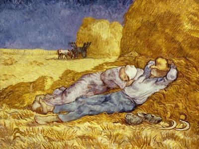 La Méridienne Ou La Sieste, Siesta at Noon, after 1866 Pastel Drawing by Millet, 1890