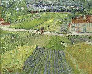 Landscape with Carriage and Train in the Background by Vincent van Gogh