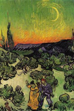 Landscape with Couple Walking and Crescent Moon by Vincent van Gogh