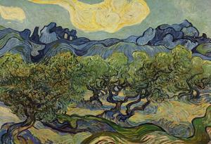 Vincent Van Gogh (Landscape with olive trees) Art Poster Print