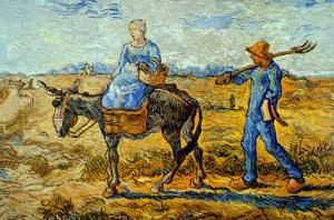 Morning with Farmer and Pitchfork; His Wife Riding a Donkey and Carrying a Basket by Vincent van Gogh