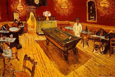 Vincent Van Gogh Night Cafe with Pool Table Art Print Poster
