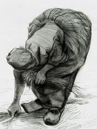 Peasant Woman Gleaning, c.1885 (Black Chalk) by Vincent van Gogh