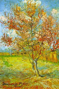 Vincent Van Gogh Pink Peach Tree in Blossom Reminiscence of Mauve Plastic Sign