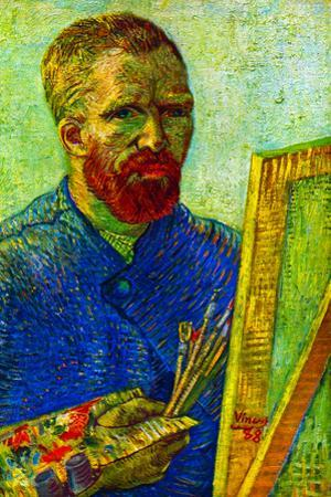Vincent Van Gogh Self-Portrait in Front Easel