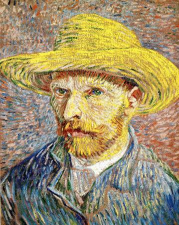 Self-Portrait with a Straw Hat, c.1888 by Vincent van Gogh