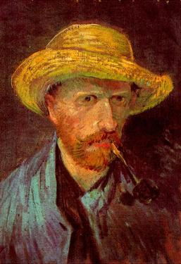 Vincent Van Gogh Self-Portrait with Straw Hat and Pipe Art Print Poster
