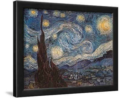 Starry Night, White Border, Text by Vincent van Gogh