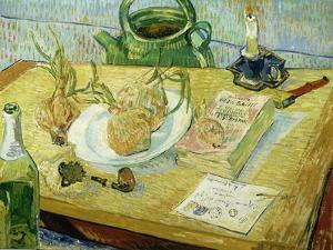 Still Life with a Drawing Board, Pipe, Onions and Sealing Wax by Vincent van Gogh