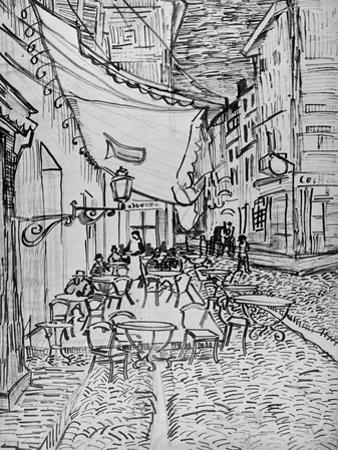 Terrace of the Cafe in the Evening (Night cafe in Arles), Reed Pen Drawing after the Painting, 1888