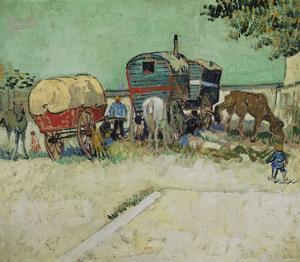 The Caravans, Gypsy Camp Near Arles (Les Roulottes / Campement De Bohémiens), 1888 by Vincent van Gogh