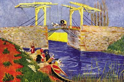The Langlois Bridge At Arles with Women Washing by Vincent van Gogh