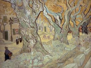 The Road Menders at Saint-R�, or Large Plane Trees, 1889 by Vincent van Gogh