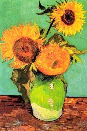 Vincent Van Gogh Three Sunflowers in a Vase 2 Plastic Sign