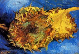 Vincent Van Gogh Two Cut Sunflowers 3 Art Print Poster