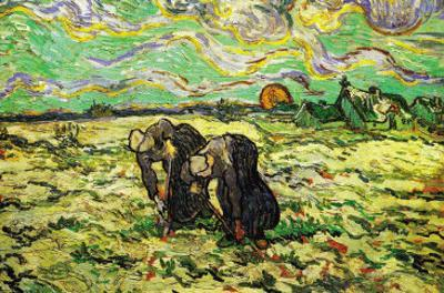 Two Peasant Women Digging In Field with Snow by Vincent van Gogh