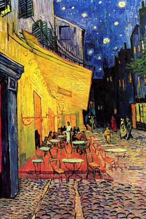 Van Gogh Cafe Terrace at Night Painting Plastic Sign by Vincent van Gogh