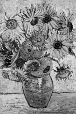Vincent Van Gogh Vase Twelve Sunflowers Black White Art Print Poster