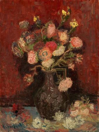 Vase with Chinese Asters and Gladioli