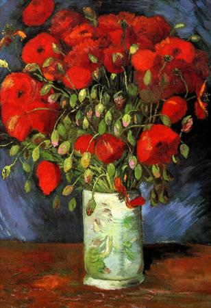Vincent Van Gogh Vase with Red Poppies Art Print Poster