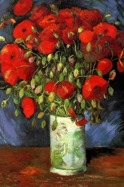 Vincent Van Gogh Vase with Red Poppies Plastic Sign