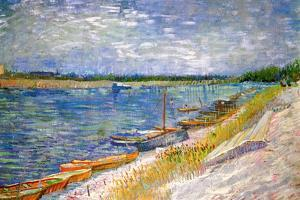 Vincent Van Gogh View of a River with Rowing Boats Plastic Sign