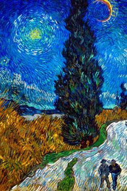 Vincent Van Gogh Country Road in Provence by Night Plastic Sign by Vincent van Gogh