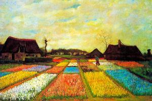 Vincent Van Gogh Holland Flower Bed Plastic Sign by Vincent van Gogh