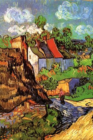 Vincent Van Gogh Houses in Auvers Hillside Plastic Sign by Vincent van Gogh
