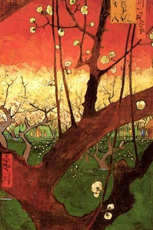 Vincent Van Gogh Japonaiserie Flowering Plum Tree after Hiroshige Plastic Sign by Vincent van Gogh