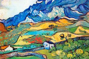 Vincent Van Gogh Les Alpilles a Mountain Landscape near Saint-Remy Plastic Sign by Vincent van Gogh
