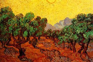 Vincent Van Gogh Olive Trees with Yellow Sky and Sun Plastic Sign by Vincent van Gogh