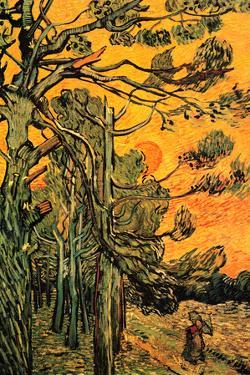 Vincent Van Gogh Pine Trees against a Red Sky with Setting Sun Plastic Sign by Vincent van Gogh