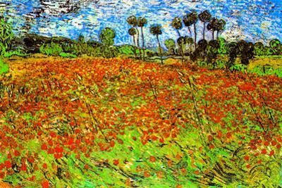 Vincent Van Gogh Poppy Fields Plastic Sign by Vincent van Gogh