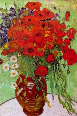Vincent Van Gogh Still Life Red Poppies and Daisies Plastic Sign by Vincent van Gogh