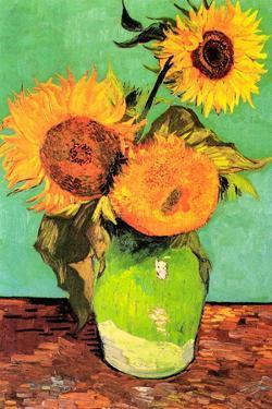 Vincent van Gogh Three Sunflowers in a Vase by Vincent van Gogh