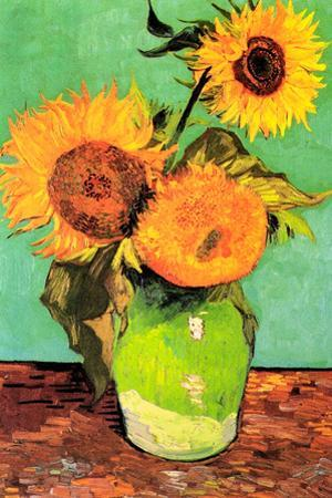 Vincent van Gogh Three Sunflowers in a Vase