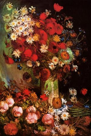 Vincent Van Gogh Vase with Poppies Cornflowers Peonies and Chrysanthemums by Vincent van Gogh