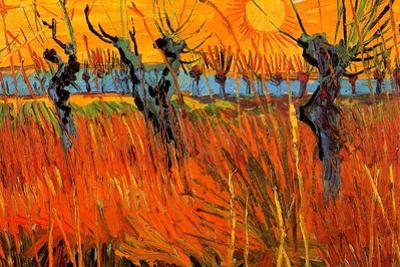 Vincent Van Gogh Willows at Sunset Plastic Sign
