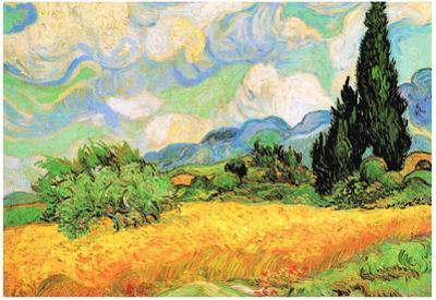 Vincent Van Gogh Wheat Field with Cypresses near Eygalieres Art Print Poster