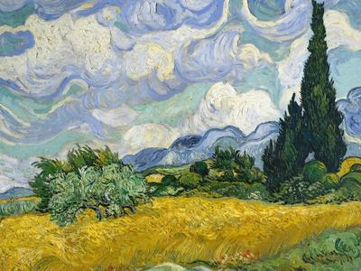 Van Gogh Wheat Field Cypresses 1889 Framed Art Print Picture Mount 30 12x16 Inch