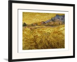 Wheat Field with Reaper and Sun by Vincent van Gogh