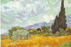 Vincent Van Gogh (Wheatfield with Cypresses) Plastic Sign
