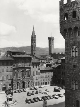 Piazza Della Signoria in Florence with the Belltower of the Badia Fiorentina and the Bargello Tower by Vincenzo Balocchi