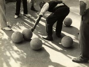 Player Measuring the Distance Between Two Bocce Balls by Vincenzo Balocchi