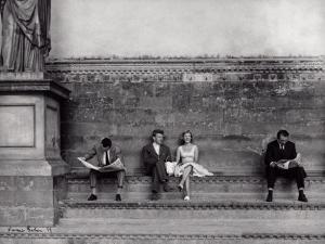 Tourists in the Loggia Della Signoria in Florence by Vincenzo Balocchi
