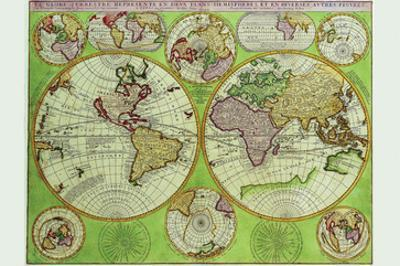 Stereographic World Map with Insets of Polar Projections