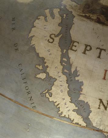 Terrestrial Globe, Detail of the Island of California, 1683